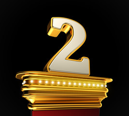 Number Two on golden platform over black background