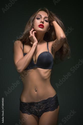 canvas print picture woman in black lingerie