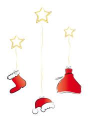 Weihnachen - Mütze, Nikolausstiefel und Sack