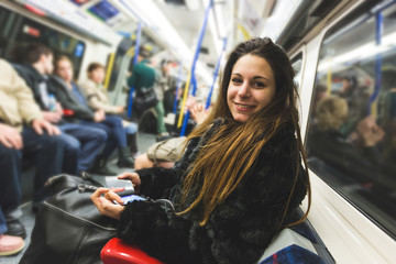 Beautiful Young Woman in London Tube
