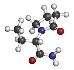 Levetiracetam epilepsy (seizures) drug molecule.