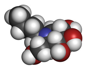 Miglustat Gaucher disease drug molecule.