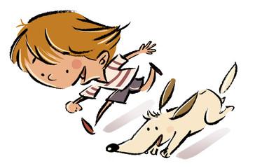 niño corriendo con su perro