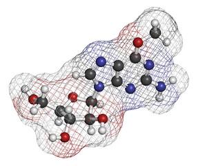 Nelarabine leukemia drug molecule.