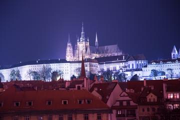 Night view of Prague, Czech Republic: Hradcany