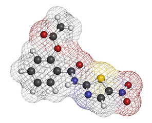 Nitazoxanide antiprotozoal drug molecule.