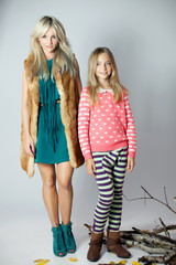 Fashionable mother with daughter