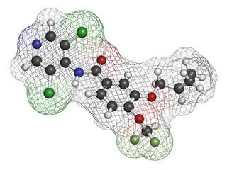 Roflumilast COPD drug molecule (PDE4 inhibitor).
