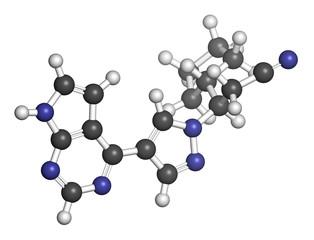 Ruxolitinib myelofibrosis cancer drug molecule.