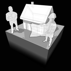 detached house with architect and customer diagram