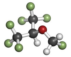Sevoflurane inhalational anesthetic molecule.