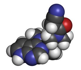 Tofacitinib rheumatoid arthritis drug molecule.