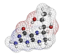 Tetrahydrobiopterin (sapropterin) phenylketonuria drug molecule