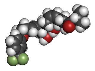 Travoprost eye disease drug molecule.