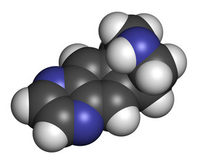 Varenicline smoking cessation drug molecule.
