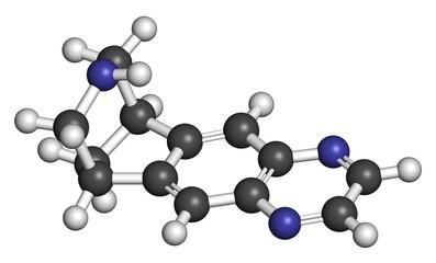 Varenicline smoking cessation drug molecule.