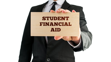 Wooden sign saying Student financial aid