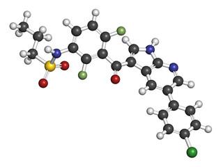 Vemurafenib melanoma drug molecule.