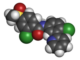 Vismodegib cancer drug molecule.