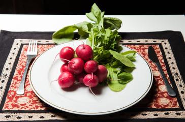 Radish on the plate