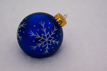 Blue Ornament in Snow