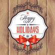 Vector holiday card with wood background