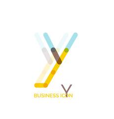 Minimal line font design, letter Y