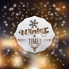 Vector cute winter badge illustration