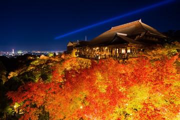 清水寺の紅葉 夜景