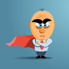 Brave superhero businessman with red cloak. Vector