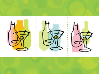 Colorful abstract martini cocktail Icons