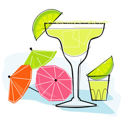 Retro-stylized cocktail spot illustration: Margarita