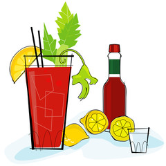Retro-stylized cocktail spot illustration: Bloody Mary