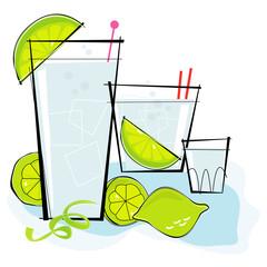 Retro-stylized cocktail spot illustration: Vodka or Gin & Tonic