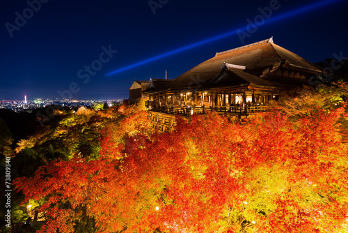In de dag Temple 清水寺の紅葉 夜景