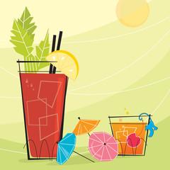 Retro Cocktails with paper umbrellas