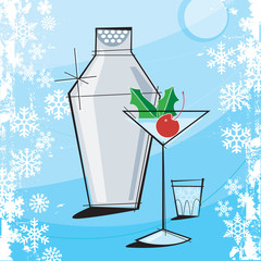 Retro-stylized Holiday Martini with grunge snowflake frame.