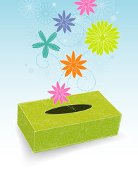 Retro-stylized tissue box with flowers and pollen