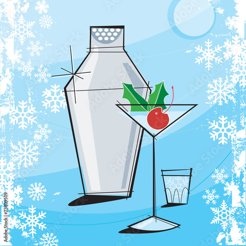 Retro-stylized Holiday Martini with grunge snowflake frame.