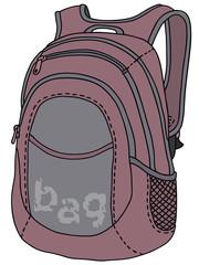 Hand drawing of a violet kitbag - vector illustration