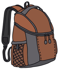 Hand drawing of a red kitbag - vector illustration