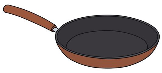 Hand drawing of a teflon pan - vector illustration