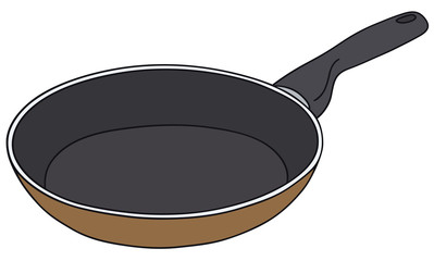 Hand drawing of a teflon pan - vector illustration