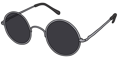 Hand drawing of a classic black glasses - vector illustration