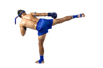Muay thai, Asian man exercising thai boxing isolated on white