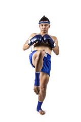 Muay thai, Asian man exercising thai boxing isolated on white
