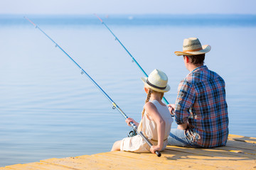 Father and daughter fishing