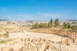 Roman Oval Forum in the ancient Jerash, Jordan.
