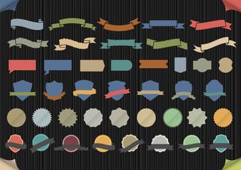 Set of design elements in retro colors