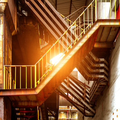 Large factories metal stairs